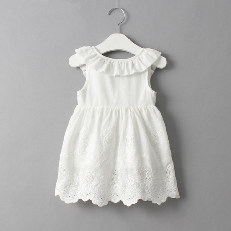 Lace Beach Girls Dress White Halter Hollow Party Backless Dresses For Girls Vintage Toddler Girls Clothes 2 3 4 5 6 7 8 9 years 2