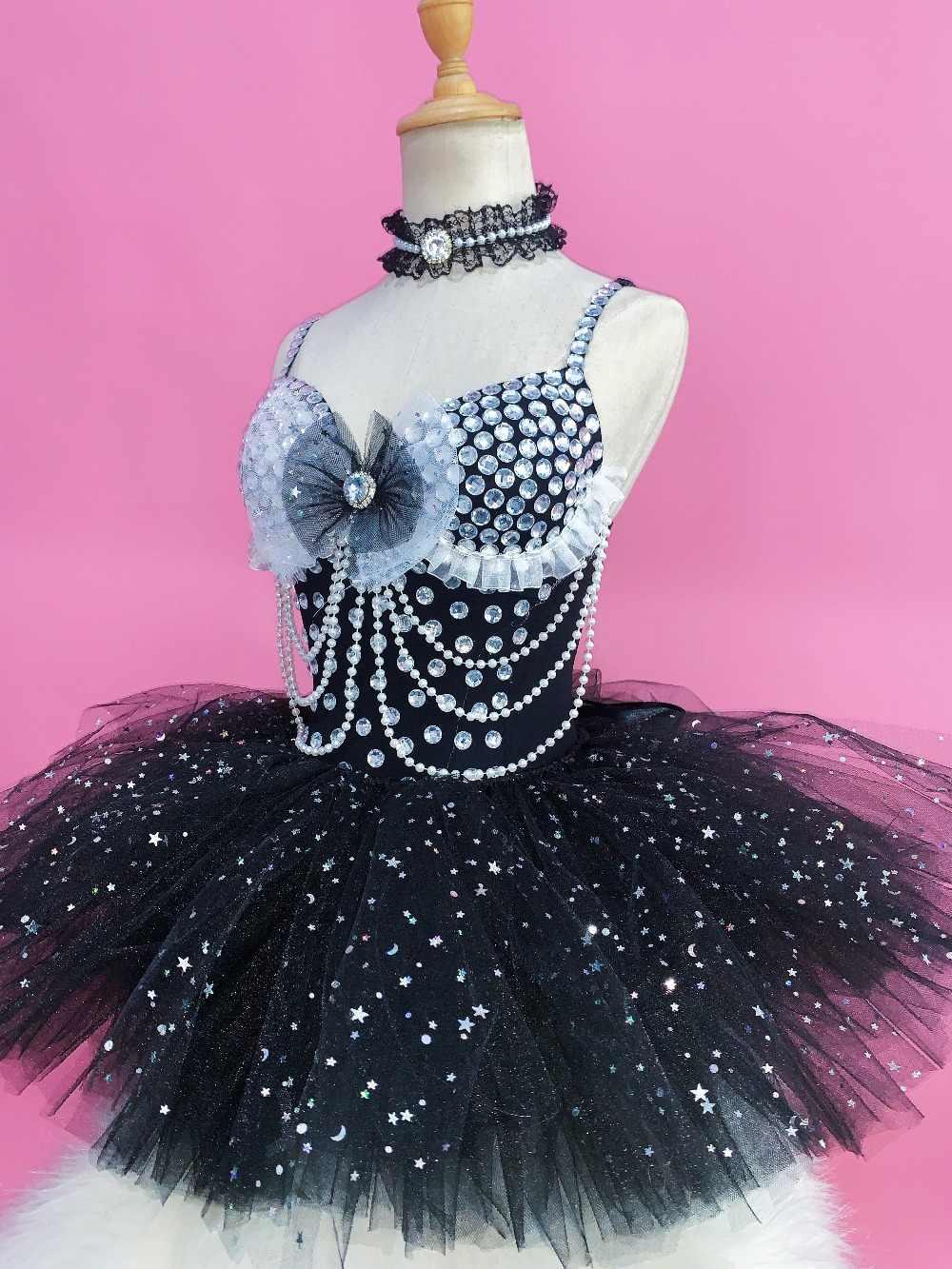 Блестящие Серебряные стразы черный купальник наряд певицы DJ DS Танцы одежда этап блестящие пачки наряд боди