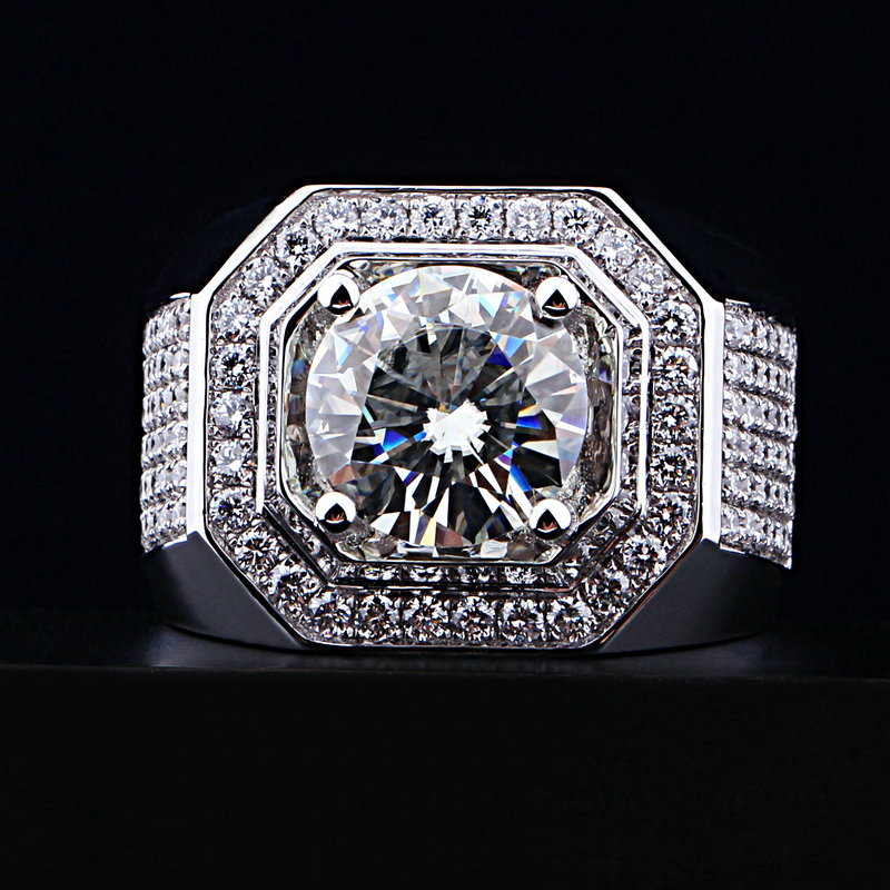 choucong Men Round cut 8mm Stone 5A Zircon stone 10KT White Gold Filled Engagement Wedding Band Ring Set Sz 5-11 Gift