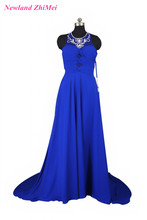 Sparkly Crystals Prom Dress New Arrival Blue Pleat Floor Length Chiffon Woman Evening Formal Gown Dresses Good Design