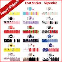 50pcs Fashion Summer Foot Toe Adhesive Nail Art Stickers Wraps Flower Cartoon Designs DIY Pedicure Feet Care Decoration Tools