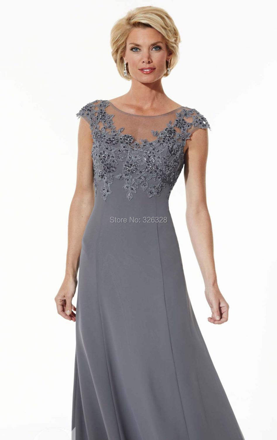 Charcoal Sheer Cap Sleeves Mother Of The Bride Dress Sleeveless ...