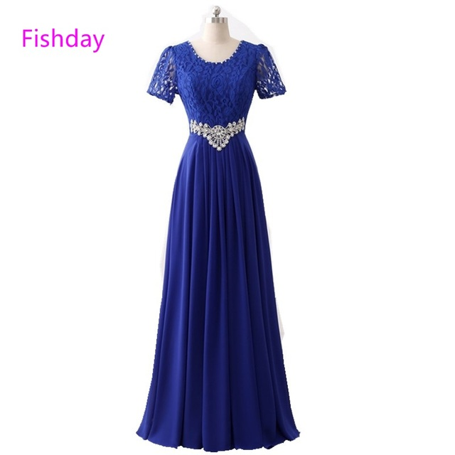 Fishday Evening Dresses Long Lace Royal Blue Crystal Formal Women Elegant Cheap Vestido Longo Mother of Bride Party Gowns B30