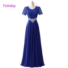 Long Red Lace Chiffon Royal Blue Formal Evening Dresses Women Crystal Elegant Cheap Vestido Longo Mother of Bride Party Gowns 45