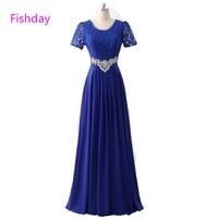 Cheap Long Red Chiffon Royal Blue Women Crystal Elegant Formal Evening Dresses China Vestido Longo Occasion