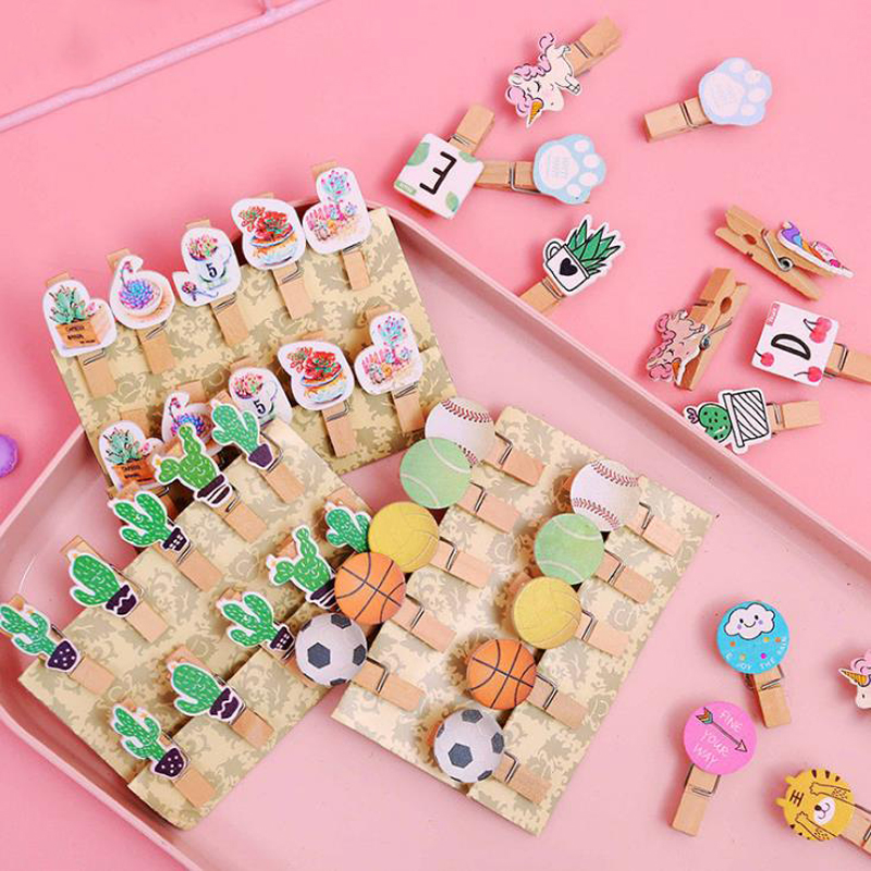 10 Pcs/pack Cartoon Animal Unicorn Cat Paw Cactus Sea Shell Football Wooden Clip Photo Paper Clothespin Memo Clips Stationery