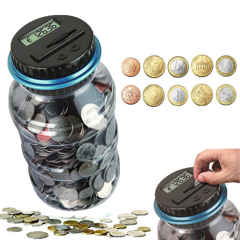 Electronic Piggy Bank Counter Coin 1.8L Digital LCD Counting Coin Money Saving Box Jar Coins Storage Box For USD EURO Money Gift