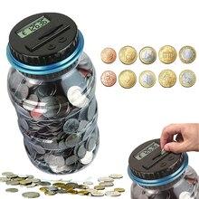 Alcancía electrónica contador moneda 1.8L LCD Digital recuento de monedas y ahorro de dinero tarro caja de almacenamiento de monedas para USD EURO dinero regalo