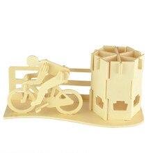 Starz 3D en bois course à vélo stylo – Container Puzzles jouets statique artisanat du bois de modèle de bâtiment Kits enfants cadeaux pour enfants