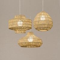 Single head rope pendant lamps lighting light rattan living room bedroom restaurant cafe creative retro pendant light ZA81060