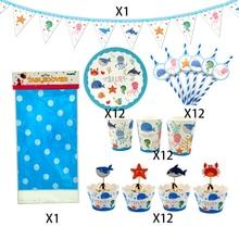 62 peças para 12 crianças vida marinha animais tema festa de aniversário suprimentos conjunto de utensílios de mesa, placa + palha vidro banner cupcake deco ect