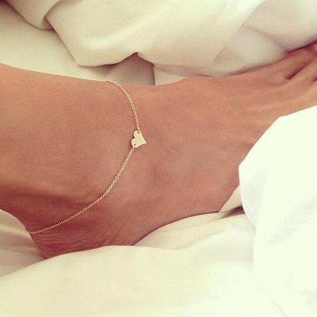 ead812049 Girl Fashion Simple Heart Ankle Bracelet Chain Beach Foot Sandal Jewelry  Cute Women Girl-in Anklets from Jewelry   Accessories on Aliexpress.com