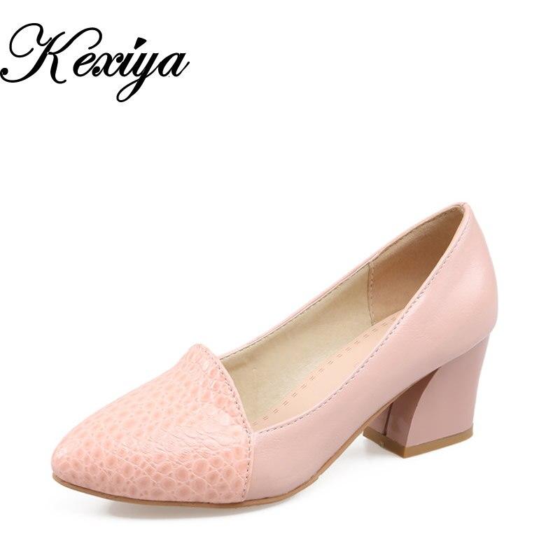 9f57c01f0 2016 Primavera/Outono mulheres bombas plus size 31-43 Clássicos Apontou Toe  sapatos da moda Slip-On de alta sapatos de salto zapatos mujer 218-1