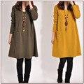 Mujer libre del envío de algodón de lino vestidos Mujer de tres colores más el tamaño de vestido de Mujer otoño primavera Casual solid O-cuello vestido