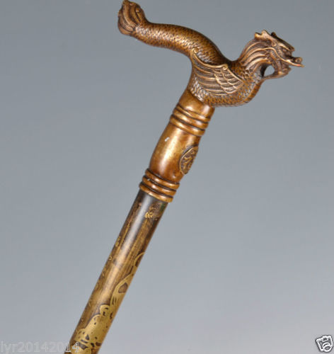 Brass Pure Copper Brass Grandpa Good Lucky Vintage Collection Old Brass Vivid Flying Dragon Handle Walking Stick