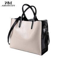 100 Genuine Leather Bag Women Handbags Ladies Shoulder Bags Simple Large Totes Casual Woman Cowhide Bag