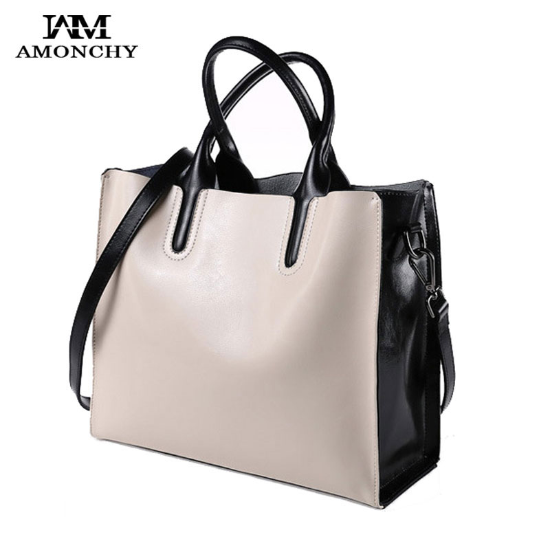 100% Genuine Leather Bags Women Handbags Real Natural Leather Women Shoulder Bags Large Lady Tote Panelled Vintage Cowhide Bag