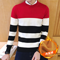 Thick!!2016 New Arrival Winter Fashion Men's Casual Slim Warm Thicken O-neck Pullover Striped Patchwork Sweater Gray/Red/Navy