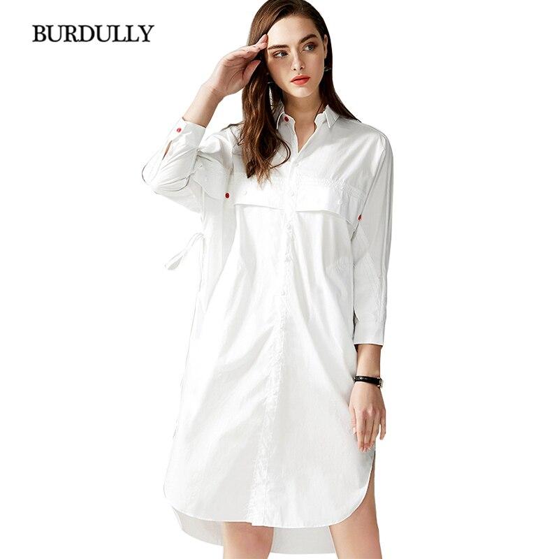 2019 printemps été robes décontracté Turn-down col poignet manches chauve-souris bureau dame asymétrique robe blanche de haute qualité