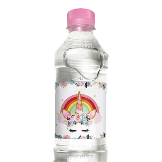 4335b728f77 12 pcs lot New dreamy Rainbow Unicorn Horse water bottle label candy bar  decoration for kids birthday party baby shower supply
