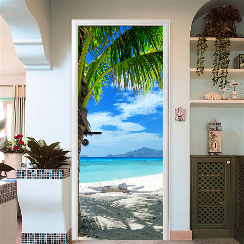 Modern 3D Beach Landscape Door Sticker Dining Room Bathroom PVC Waterproof Self Adhesive Mural Wallpaper For Walls 3 D Stickers