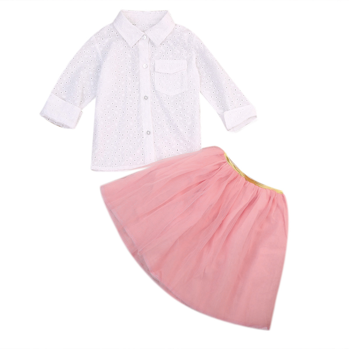 2 to 7T Toddler Kid Baby Girl Clothes Long Sleeve T-shirt Tops Lace Ruffle Mini Tutu Skirt Outfit Baby Clothing Set