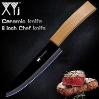 XYj 6 дюймов кухонный нож керамика ножи бамбуковой ручкой оксид циркония черный лезвие высокого качества пособия по кулинарии кухонный подар...