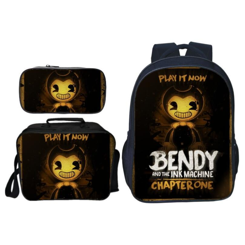3Pcs Set Hot Fashion Bendy and The Ink Kids Baby School Bags for Children Backpacks Boys