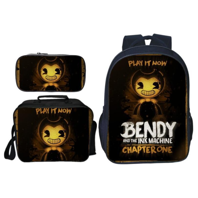 3 pièces/ensemble chaud mode Bendy et l'encre enfants bébé sacs d'école pour enfants sacs à dos garçons cartable jeu de bande dessinée filles Bookbag