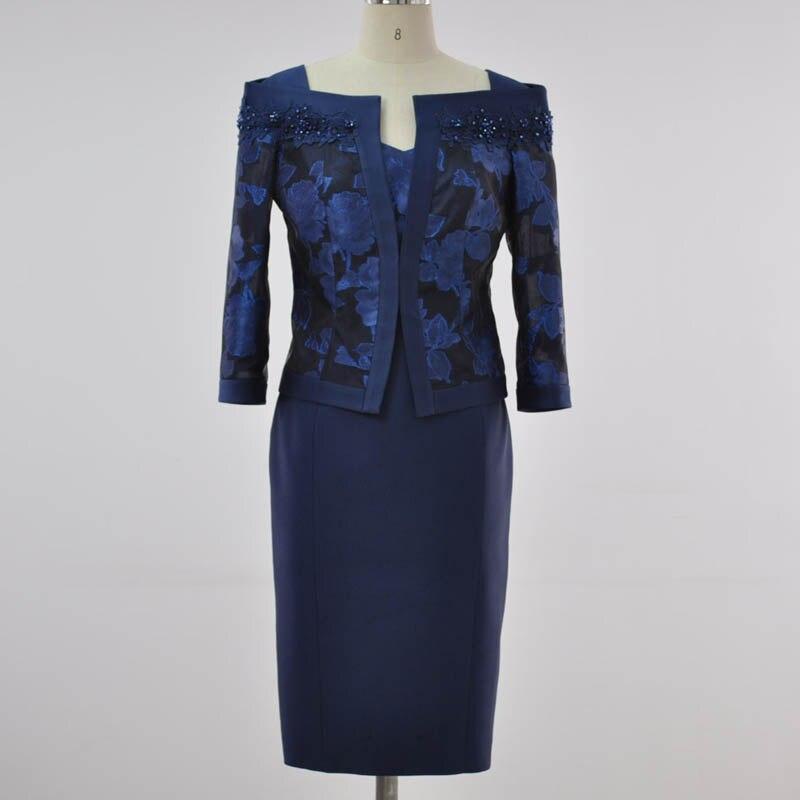 Large Flower Jacquard Applique Lace Beaded Short Coat Silk Polyester Blend Waist Dress Two piece