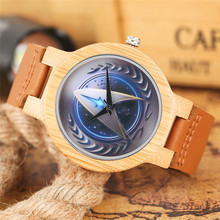 Bamboo Watches Creative Star Trek Dial Quartz Wooden Watch Men Casual Genuine Leather Band 2018 New Nature Handmade Clock Gift