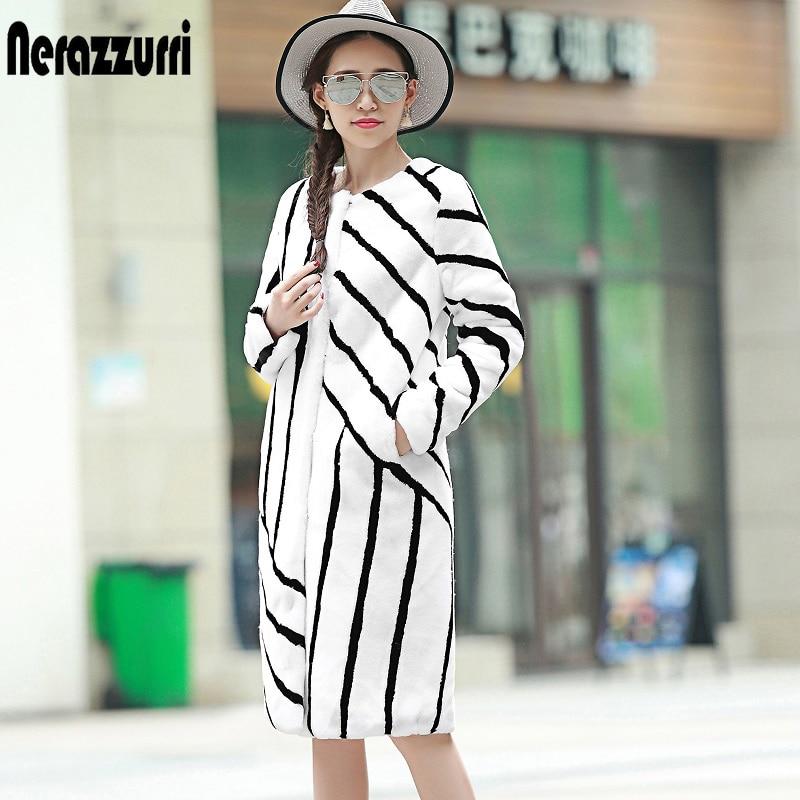 Nerazzurri Women Runway Faux Fur Coat 2019 Winter Long Color Block Fake Fur Jackets Black and