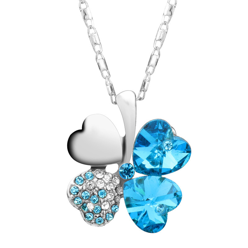 австрийский хрусталь счастливый клевер ожерелье для леди лучшие продажи золото и серебро цепочки бижутерия женщины ювелирные изделия мода кулон колье женское 2015 рождество и новый год подарки ожерелье женские