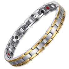 Fashion Womens Stainless Steel Room Magnet Four-a Bracelet Germanium Anion