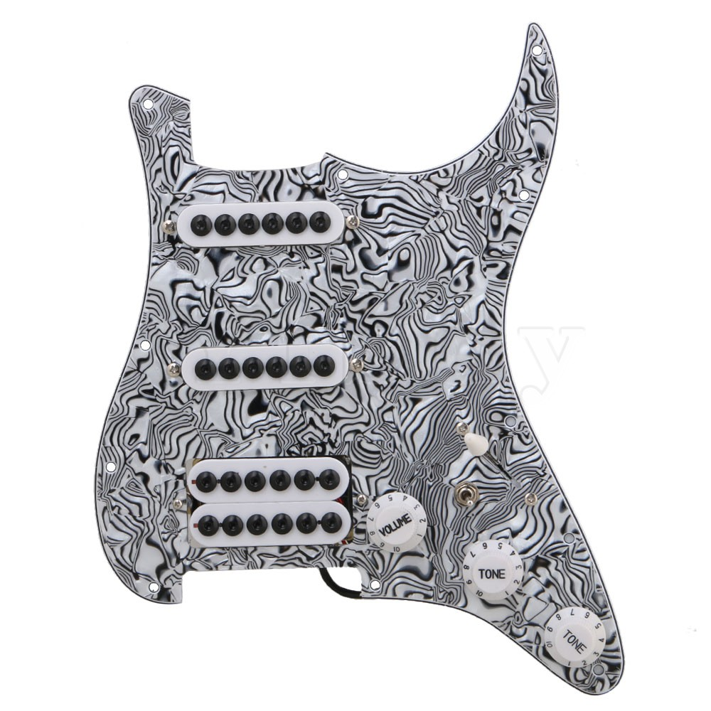 Yibuy Black White Zebra Pattern 3-ply Pickups Electric Guitar Loaded Prewired Pickguard set SSH black pearl ssh guitar loaded prewired pickguard scratchplate assembly for electric guitar