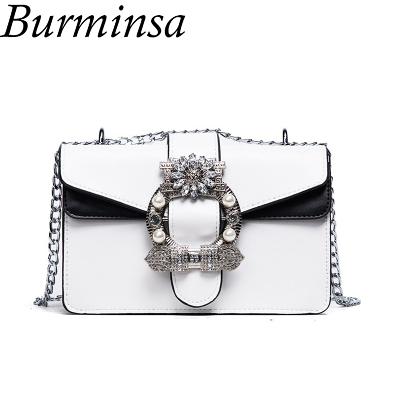 Burminsa Rhinestone Chain Crossbody Bags Small Girl Pearl Designer Handbags High Quality PU Leather Women Shoulder Messenger Bag 2017 hot fashion women bags 3d diamond shape shoulder chain lady girl messenger small crossbody satchel evening zipper hangbags