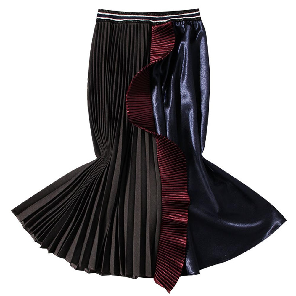 Contraste Haute Couture Couleur Longues Txjrh mollet Lumineux Taille Ruches Élégant Jupe Tache Mi Vintage Black Plissée Hepburn Jupes 2019 nBqnPtX1f