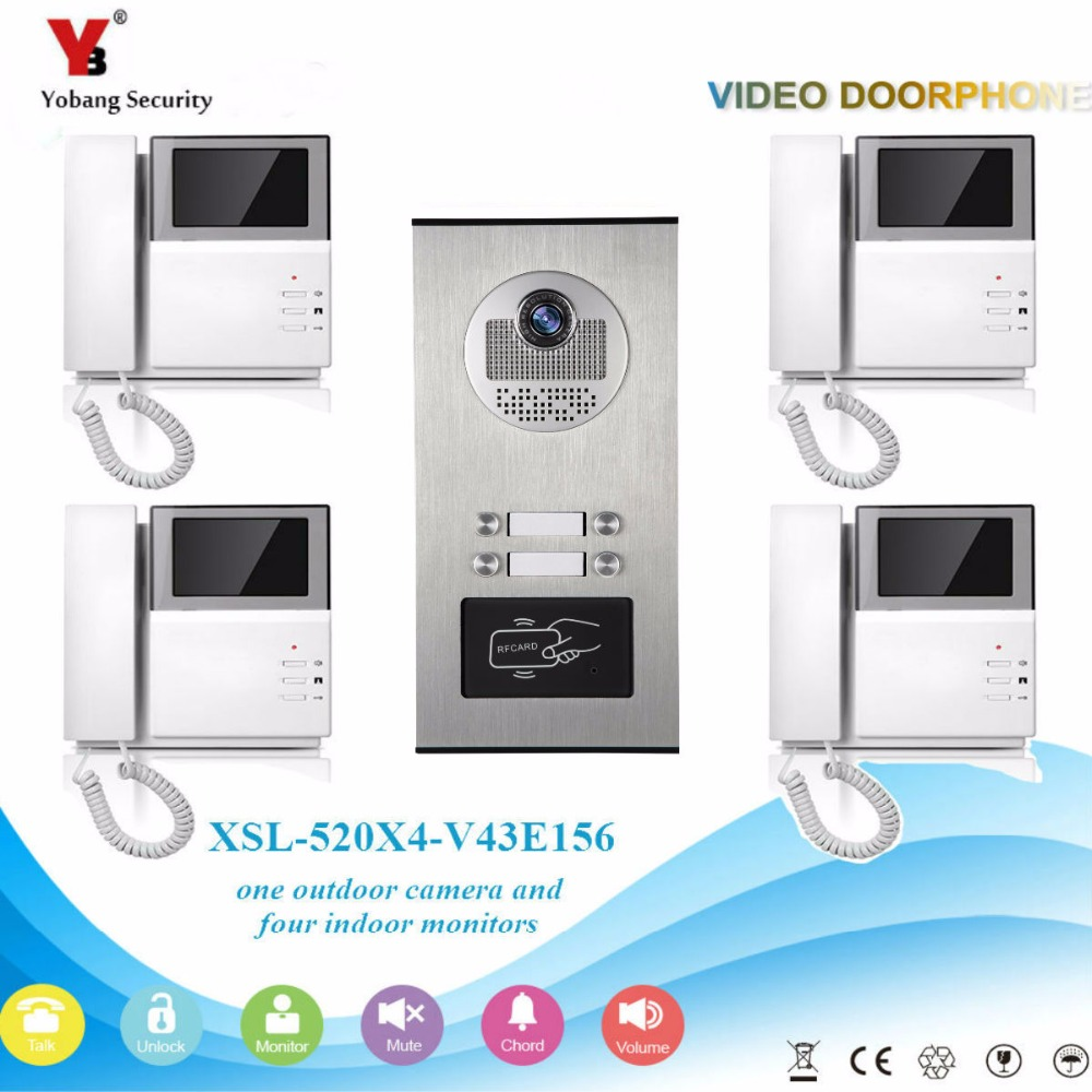 YobangSecurity Video Door Intercom 4.3 Inch Video Door Phone Doorbell Camera System RFID Access Door Camera For 4 Unit Apartment digital electric best rfid hotel electronic door lock for flat apartment