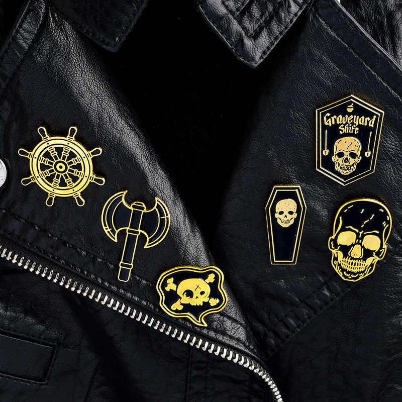 Kualitas Tinggi Eropa dan Amerika Punk Bros Bajak Laut Laut Kompas Kapak Bros Jaket Denim Ransel Pin Lencana Dua Warna