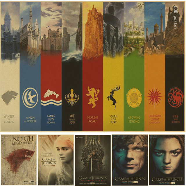 Game Of Thrones Vintage Brown Poster Wall Paper Home Decor Movie