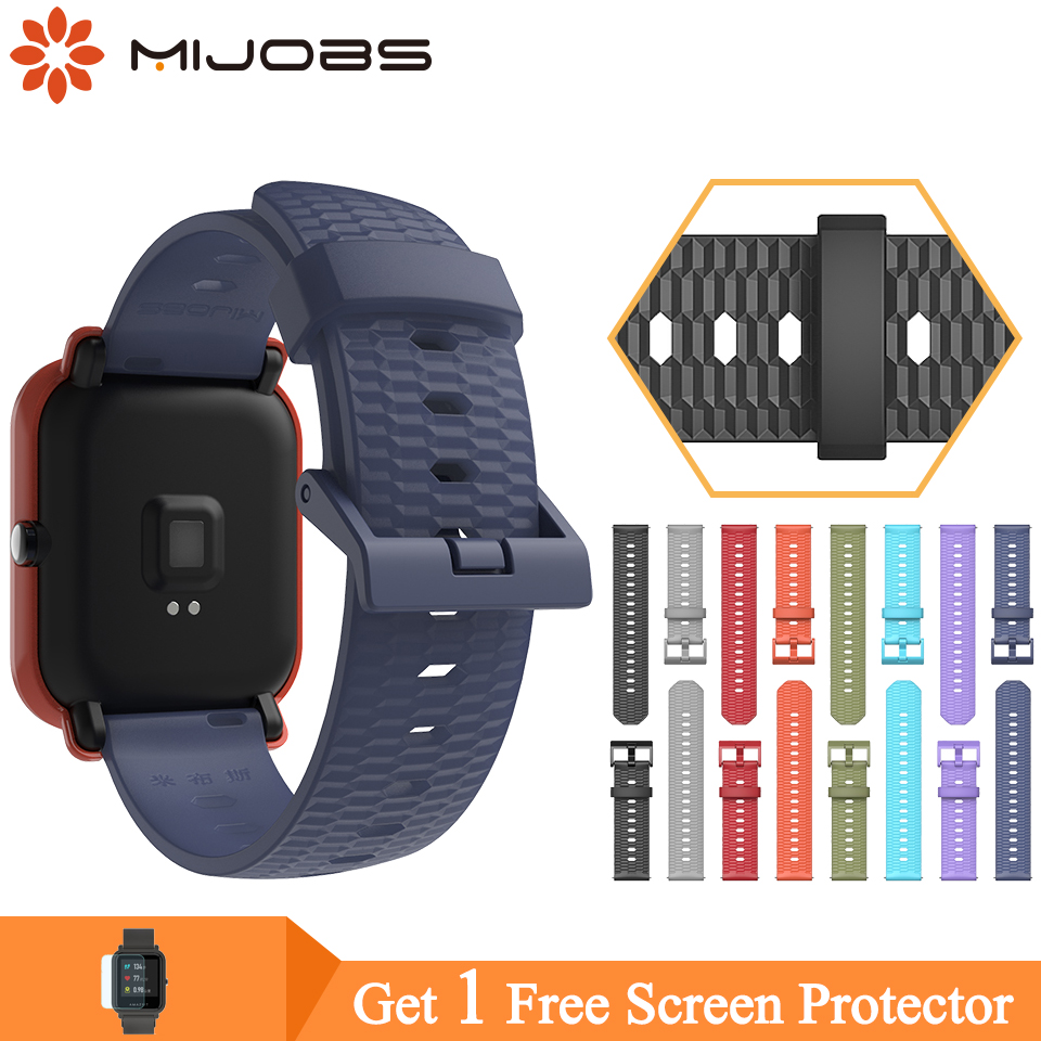 Mijobs 22mm 20mm Silicone Strap For Xiaomi Huami Amazfit Bip Pace Smart Watch For Amazfit GTS Wrist Bracelet TPU Wristbands