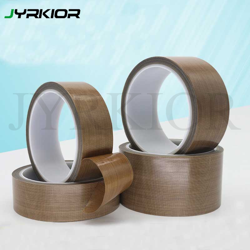 Jyrkior 10M/Roll Teflon Resistant High Temperature Adhesive Cloth Insulation 300 Degree Vacuum Sealing Machine Teflon Tape