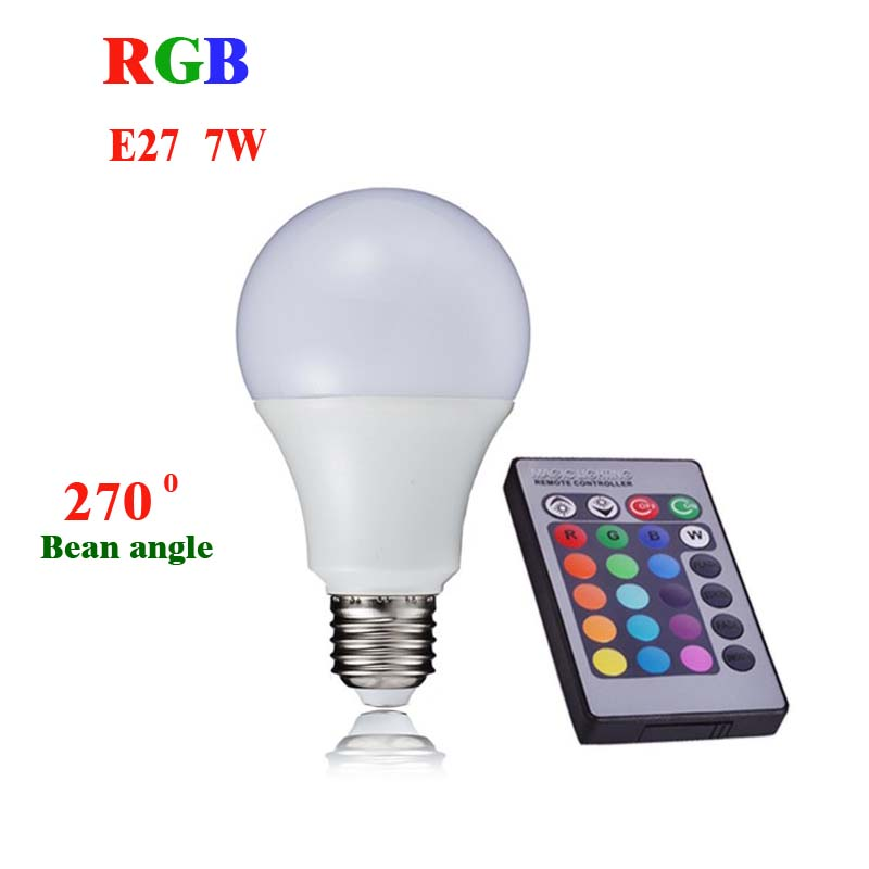 Great LED RGB Lamp Light E27 7W 110V 220V 240V RGB LED Bulb 24key IR Remote  Controller Colorful Energy Saving Lamps A70 In LED Bulbs U0026 Tubes From  Lights ...