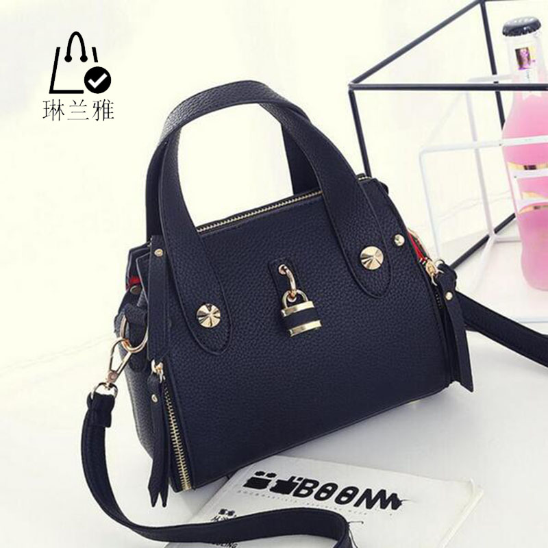 LINLANYA shoulder bag ladies handbags PU leather women inclined female messenger decorated locks Z-351