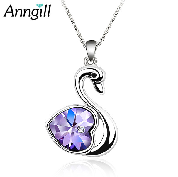 Cute Love Heart Swan Necklaces Pendants Made With Austrian Crystals From  Swarovski Elements Silver Color Chain