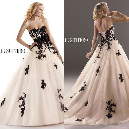 Wedding Dresses With Black Accents Applique Lace Up Closure ...