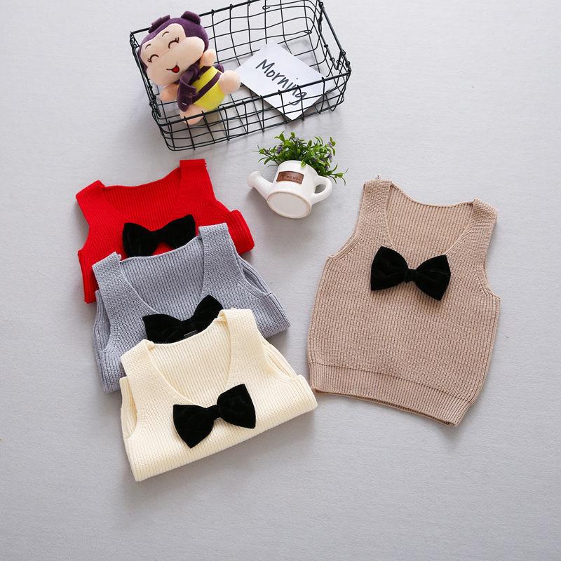 Autumn-Girls-Boys-Kids-Baby-Infants-Sleeveless-Bow-Vest-Outwear-Pullover-Knitwear-Kintting-Sweater-Waistcoat-Camisola-MT1287-2
