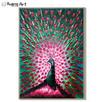 100% Hand painted Knife Peacock Thick Oil Painting on Canvas Modern Animal Painting for Living Room Decor Peacock Wall Painting