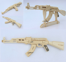 Wooden AK47 Model Puzzles Toy