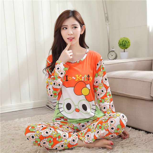 78ad9b3936f7 Free shipping Pajama Sets Long Sleeve women Sleepwear Autumn and Winter  Carton Cotton Pajamas Mujer Women Home Clothes Wholesale